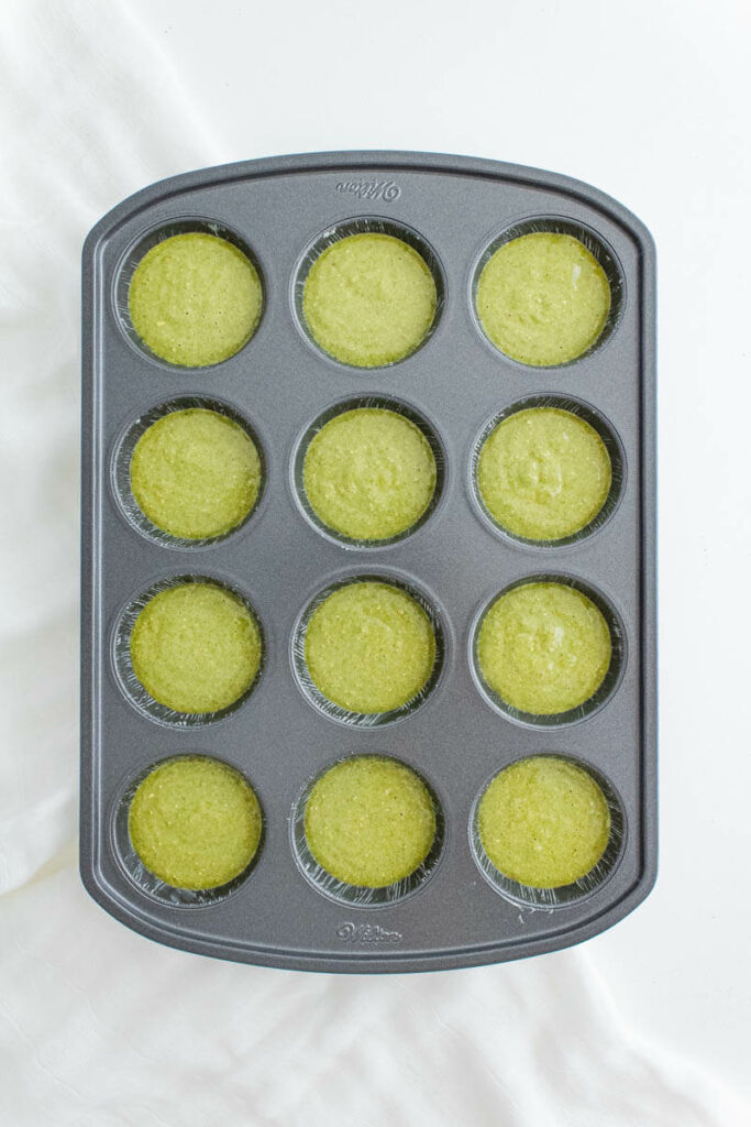 spinach banana muffins - muffin tin